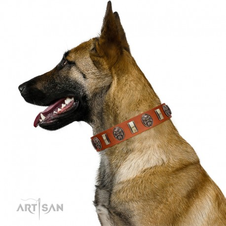 """""""Strike of Rock"""" FDT Artisan Tan Leather Dog Collar with Plates and Medallions with Skulls"""