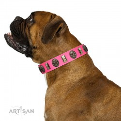 """Perilous Beauty"" Pink FDT Artisan Leather Dog Collar with Small Plates and Skulls"
