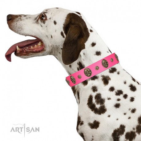 """""""Fashion Show"""" FDT Artisan Pink Leather Dog Collar with Old Bronze-like Skulls and Studs"""