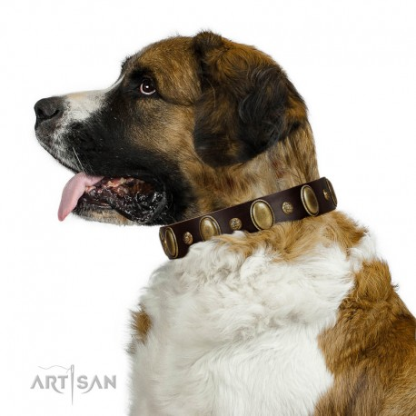 """""""Natural Grace"""" FDT Artisan Handmade Decorated Brown Leather Dog Collar"""