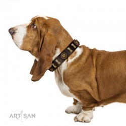 """""""City Call"""" FDT Artisan Adorned with Old Bronze-like Plates and Circles Brown Leather Dog Collar 1 1/2 inch (40 mm) Wide"""