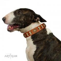 """Happy Hound"" FDT Artisan Tan Leather Dog Collar with Elegant Decorations"