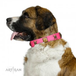 """Wild and Free"" FDT Artisan Pink Leather Dog Collar with Skulls and Crossbones Combined with Squares"