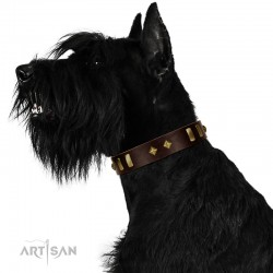"""Blinking Illusion"" FDT Artisan Brown Leather Dog Collar with Old Bronze-like Studs and Plates"
