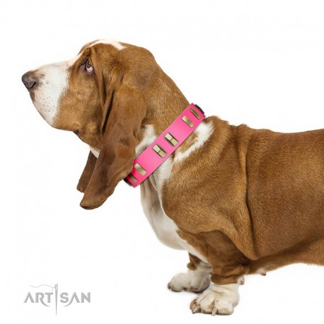 """""""Rubicund Frill"""" FDT Artisan Pink Leather Dog Collar with Engraved and Smooth Plates"""