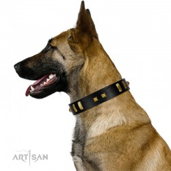 """""""Fit for Royalty"""" FDT Artisan Black Leather Dog Collar with Plates and Small Square Studs"""