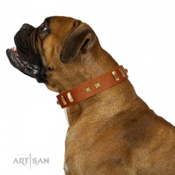 """""""Sand of Time"""" FDT Artisan Tan Leather Dog Collar with Old Bronze-like Studs and Plates"""