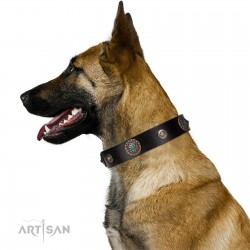 """Blue Gems"" FDT Artisan Black Leather Dog Collar with Chrome Plated Studs and Conchos"