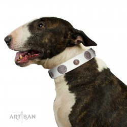 """Divine Nature"" FDT Artisan White Leather Dog Collar with Chrome Plated Brooches"