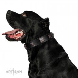 """Sea Rover"" Embellished FDT Artisan Black Leather Dog Collar with Chrome Plated Crossbones and Plates"