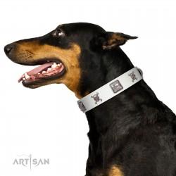 """Pirate Sloop"" Handmade FDT Artisan Designer White Leather Dog Collar with Crossbones"