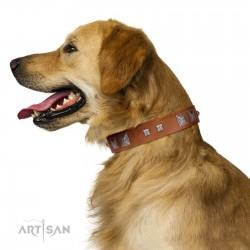"""Egyptian Gifts"" Handmade FDT Artisan Tan Leather Dog Collar with Chrome-plated Pyramids"