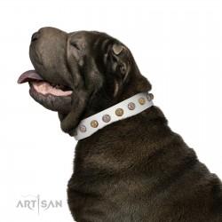 """""""Into the White"""" Designer Handmade FDT Artisan White Leather Dog Collar"""