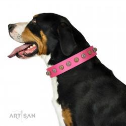 """Roseate Caprice"" Designer Handmade FDT Artisan Pink Leather Dog Collar"