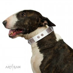 """""""Northen Lights"""" FDT Artisan White Leather Dog Collar with Massive Plates and Pyramids"""