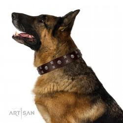 """Brown Shadow"" Designer Handmade FDT Artisan Brown Leather Dog Collar"