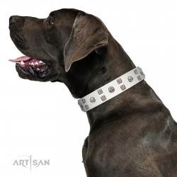 """""""Rock the Sky"""" Durable FDT Artisan White Leather Dog Collar with Chrome-plated Decorations"""