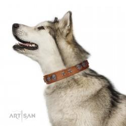 """Brave Spirit"" Handmade FDT Artisan Designer Tan Leather Dog Collar with Shields"