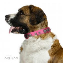 """Winsome Lassie"" Designer Handmade FDT Artisan Pink Leather Dog Collar"