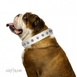 """""""Snowy Day"""" Stylish FDT Artisan White Leather Dog Collar with Small Dotted Pyramids"""