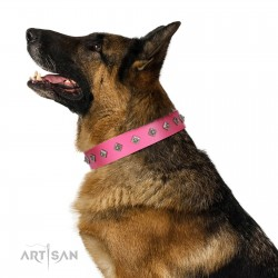 """From Paris with Love"" Handmade FDT Artisan Pink Leather Dog Collar with Dotted Pyramids"