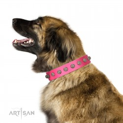 """Romantic Spirit"" Handcrafted FDT Artisan Pink Leather Dog Collar with Studs"