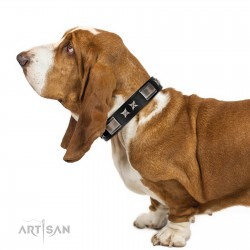 """""""Pitch Dark"""" FDT Artisan Black Leather Dog Collar with Stars and Plates"""