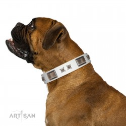 """""""Bling-Bling"""" FDT Artisan White Leather Dog Collar with Sparkling Stars and Plates"""
