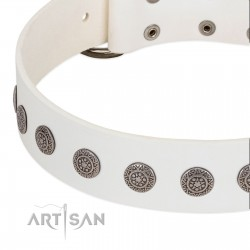 """""""Aztec Idol"""" FDT Artisan White Leather Dog Collar with Ancient Brooches"""