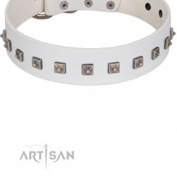 """True Grace"" Premium Quality FDT Artisan White Designer Dog Collar"