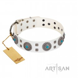"""""""Blue Sapphire"""" Designer FDT Artisan White Leather Dog Collar with Round Plates and Square Studs"""