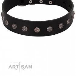 """Flower Rhapsody"" FDT Artisan Premium Quaulity Black Leather Dog Collar"
