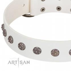 """Fresh Breeze"" FDT Artisan Elegant White Dog Collar with Silvery Studs"