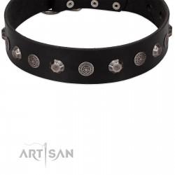 """Black Knight"" Handmade FDT Artisan Black Leather Dog Collar with Silver-Like Studs"