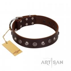 """Dark Chocolate"" Handmade FDT Artisan Brown Leather Dog Collar with Studs"
