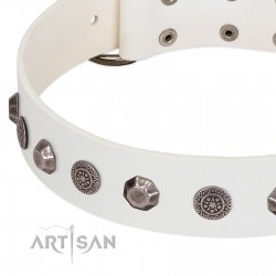 """""""Solar Energy"""" FDT Artisan White Leather Dog Collar with Silver-like Studs and Medallions"""