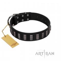 """Black Prince"" Handmade FDT Artisan Black Leather Dog Collar with Silver-Like Adornments"