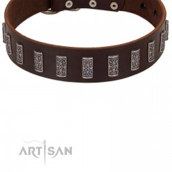 """""""Brown Lace"""" Handmade FDT Artisan Leather Dog Collar for Everyday Walks"""