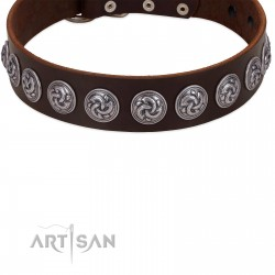 """""""Charming Circles"""" FDT Artisan Brown Leather Dog Collar with Silver-like Studs"""