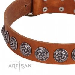 """""""Velvet Kiss"""" Handmade FDT Artisan Tan Leather Dog Collar with Vintage Medallions"""
